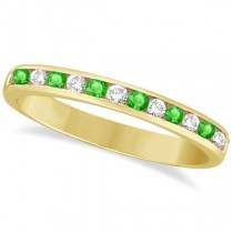 Channel-Set Tsavorite & Diamond Ring Band 14k Yellow Gold (0.40ctw)