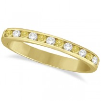 Channel-Set Yellow Canary & White Diamond Ring 14k Yellow Gold (0.33ct)