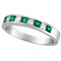 Princess-Cut Diamond & Emerald Ring Band in Palladium (0.73ct)