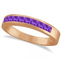 Princess-Cut Channel-Set Stackable Amethyst Ring 14k Rose Gold 1.00ct