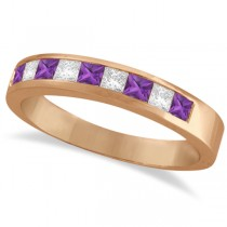 Princess Channel-Set Diamond & Amethyst Ring Band 14K Rose Gold