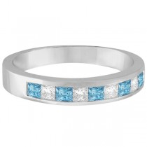 Princess Channel-Set Diamond & Aquamarine Ring Band 14K White Gold