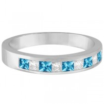 Princess Channel-Set Diamond & Blue Topaz Ring Band 14K White Gold