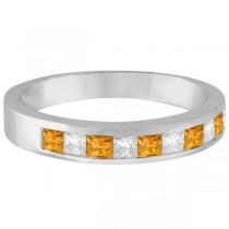 Princess Channel-Set Diamond & Citrine Ring Band 14K White Gold