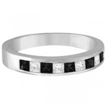 Princess-Cut Black & White Diamond Ring Band 14k White Gold (0.50ct)
