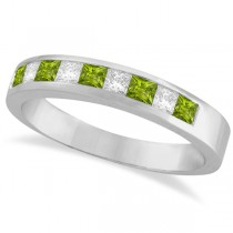 Princess Channel-Set Diamond & Peridot Ring Band 14K White Gold