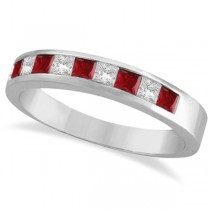 Princess-Cut Channel-Set Diamond & Ruby Ring Band 14k White Gold