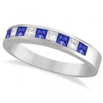 Princess-Cut Tanzanite & White Diamond Ring 14k White Gold (0.75ct)