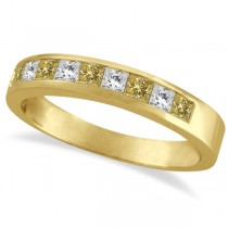 Princess-Cut Yellow Canary & White Diamond Ring Band 14k Yellow Gold