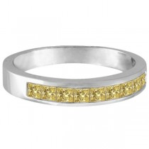Princess-Cut Channel-Set Yellow Canary Diamond Ring Band 14k White Gold