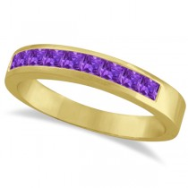 Princess-Cut Channel-Set Stackable Amethyst Ring 14k Yellow Gold 1.00ct