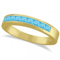 Princess-Cut Channel-Set Blue Topaz Ring Band 14k Yellow Gold 1.00ct