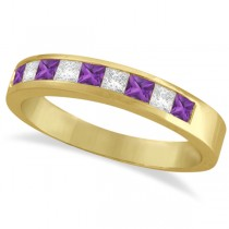 Princess Channel-Set Diamond & Amethyst Ring Band 14K Yellow Gold