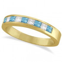 Princess Channel-Set Diamond & Aquamarine Ring Band 14K Yellow Gold