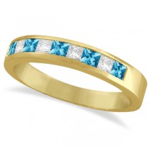 Princess Channel-Set Diamond & Blue Topaz Ring Band 14K Yellow Gold