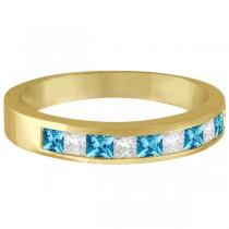 Princess Channel-Set Diamond & Blue Topaz Ring Band 14K Yellow Gold
