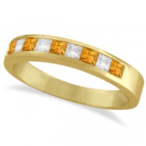Princess Channel-Set Diamond & Citrine Ring Band 14K Yellow Gold