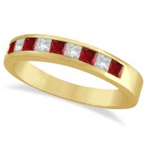 Princess-Cut Channel-Set Diamond & Ruby Ring Band 14k Yellow Gold
