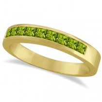 Princess-Cut Channel-Set Stackable Peridot Ring 14k Yellow Gold 1.00ct