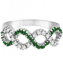 Emerald & Diamond Swirl Wavy Ring 14k White Gold (0.55cttw)