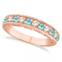Aquamarine & Diamond Ring Anniversary Band 14k Rose Gold (0.30ct)