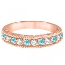Aquamarine & Diamond Ring Anniversary Band 14k Rose Gold (0.30ct)