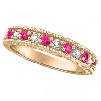 Pink Sapphire & Diamond Ring Designer Band in 14k Rose Gold (0.30ct)