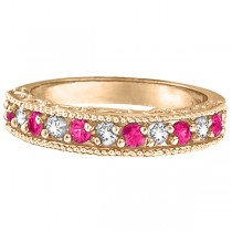 Pink Sapphire & Diamond Ring Designer Band in 14k Rose Gold (0.30ct)