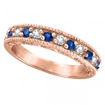 Blue Sapphire & Diamond Ring Anniversary Band 14k Rose Gold (0.30ct)