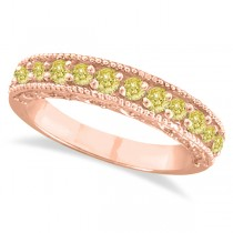 Fancy Yellow Canary Diamond Ring Anniversary Band 14k Rose Gold (0.30ct)