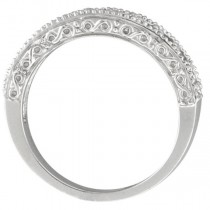 Amethyst & Diamond Ring Anniversary Band 14k White Gold (0.30ct)