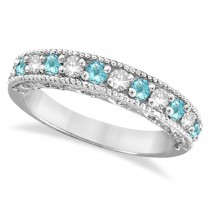 Aquamarine & Diamond Ring Anniversary Band 14k White Gold (0.30ct)