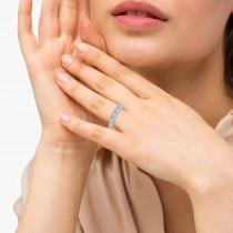 Aquamarine & Diamond Ring Anniversary Band 14k White Gold (0.30ct)