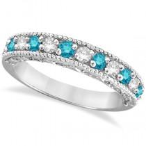Blue & White Diamond Ring Anniversary Band 14k White Gold (0.30ct)