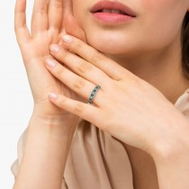 Emerald & Diamond Ring Anniversary Band 14k White Gold (0.30ct)|escape