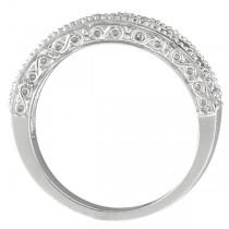 Emerald & Diamond Ring Anniversary Band 14k White Gold (0.30ct)
