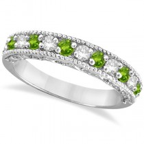 Peridot & Diamond Ring Anniversary Band 14k White Gold (0.30ct)