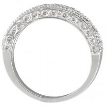 Peridot & Diamond Ring Anniversary Band 14k White Gold (0.30ct)