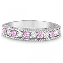 Pink Sapphire & Diamond Ring Designer Band in 14k White Gold (0.30ct)