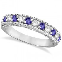 Tanzanite & Diamond Ring Anniversary Band 14k White Gold (0.30ct)