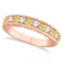 Fancy Yellow Canary & White Diamond Ring Anniversary Band 14k Rose Gold (0.30ct)