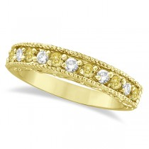 Fancy Yellow Canary & White Diamond Ring Anniversary Band 14k Yellow Gold (0.30ct)