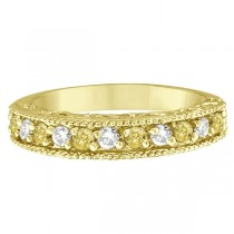Fancy Yellow Canary & White Diamond Ring Anniversary Band 14k Yellow Gold (0.30ct)