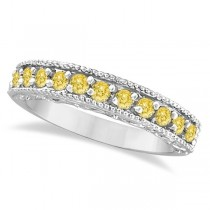 Fancy Yellow Canary Diamond Ring Anniversary Band 14k White Gold (0.30ct)