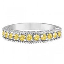 Fancy Yellow Canary Diamond Ring Anniversary Band 14k White Gold (0.30ct)