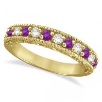 Amethyst & Diamond Ring Anniversary Band 14k Yellow Gold (0.30ct)