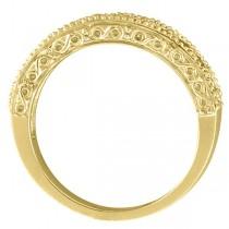 Aquamarine & Diamond Ring Anniversary Band 14k Yellow Gold (0.30ct)