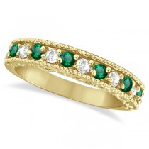 Emerald & Diamond Ring Anniversary Band 14k Yellow Gold (0.30ct)