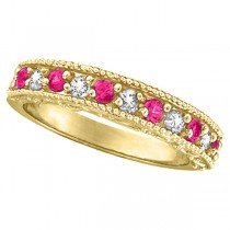 Pink Sapphire & Diamond Ring Designer Band in 14k Yellow Gold (0.30ct)