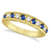 Blue Sapphire & Diamond Ring Anniversary Band 14k Yellow Gold (0.30ct)